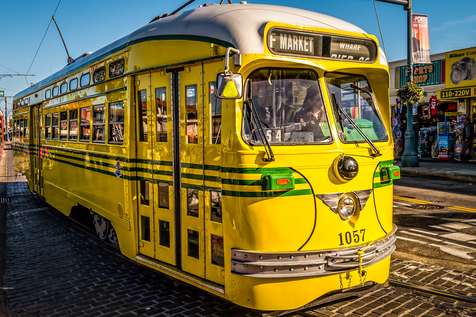 A historic streetcar on San Francisco's F Market & Wharves rail line, as seen in the Fisherman's Wharf area.