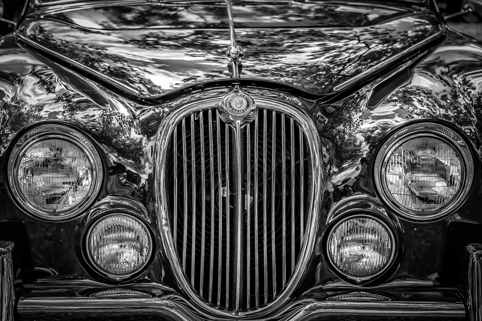 Detail of a classic Jaguar Mark 2 at Dallas' All British and European Car Day.